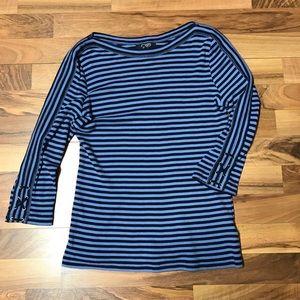 Chaps Ralph Lauren Blue Striped Lace Up Shirt
